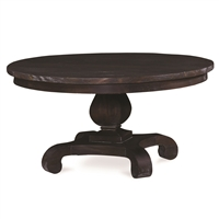 round coffee table wood black small pedestal traditional Bramble