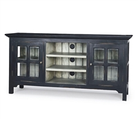 media cabinet wood distressed black glass doors storage entertainment farmhouse rustic window pane doors Bramble