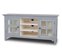 wood media cabinet distressed gray glass doors storage entertainment farmhouse center rustic coastal window pane Bramble