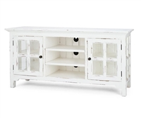 wood media cabinet windowpane doors distressed white