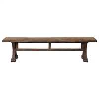 bench distressed patina trestle gray wash