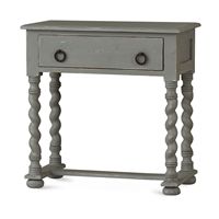 Bramble regency grey mist side table mahogany distressed twisted legs
