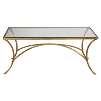 rectangle coffee table antique gold leaf iron frame clear glass top