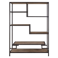 standing shelf unit etagere black iron reclaimed wood shelves multi-level