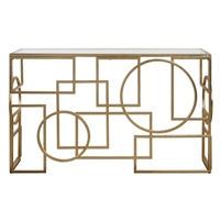 console table iron gold leaf geometric circles squares glass top modern