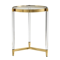 accent table small round glass acrylic legs gold plated feet