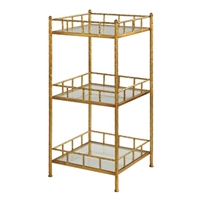 three tier standing shelf unit glass metal hammered gold leaf