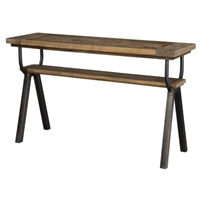 console table two shelves reclaimed wood black iron frame