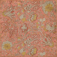 vinyl floor square mat vintage flowers cream red blue