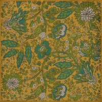 vinyl floor mat rug square cloth vintage flowers yellow aqua teal green