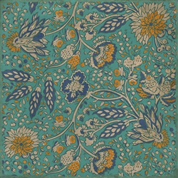 vinyl floor square cloth vintage flowers teal orange blue