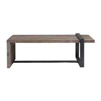 rectangle coffee table aged weathered pine slats bronze finished iron strap support rustic