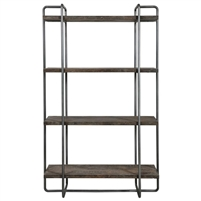 shelving unit four shelves industrial solid wood natural