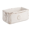 white ceramic rectangle planter scalloped edges flower detail