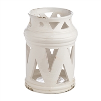 white ceramic candle lantern triangle cutouts