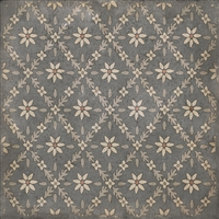 vinyl square floor mat flower tile pattern tan gray