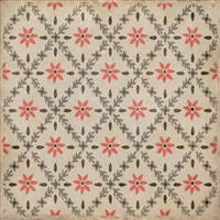 vinyl square floor mat flower tile pattern tan orange
