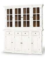 white distressed driftwood planks interior glass pane doors lower cabinets drawers