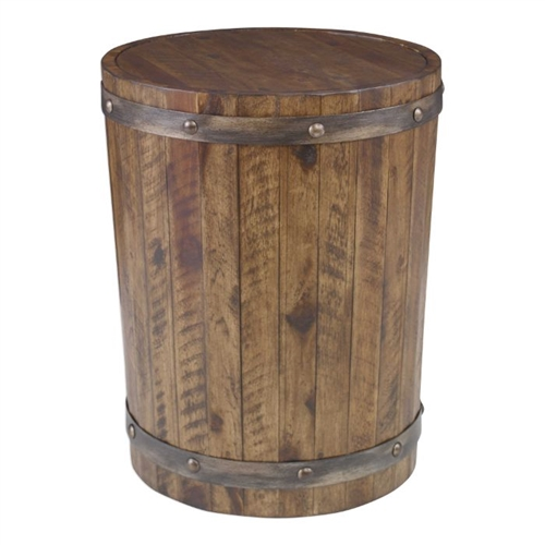 side end accent table wood wine barrel metal strapping rivets dark stain finish