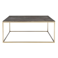 square coffee table brass finish dark gray faux shagreen leather top contemporary