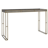 console table brass finish dark gray faux shagreen leather top contemporary