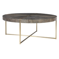 round coffee table brass finish gray veneer wood