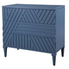 3-drawer chest modern geometric carved front sea blue