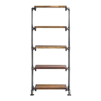 standing shelf unit etagere wood five pipe frame industrial
