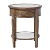 round accent side end lamp table wood drawer antique mirror lower shelf