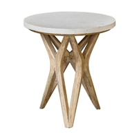 round accent table ivory limestone wood geometric base