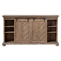 media console cabinet mango veneer chevron pattern rolling doors black iron hardware bun feet adjustable shelves