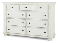 Bramble dresser 9-drawer wood mahogany crown molding carved pull knob four bun feet bureau distressed ivory