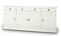 wood sideboard off-white 4 cabinets drawers distressed