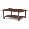 rectangle coffee cocktail table lower shelf gray metal bands base reclaimed wood fruitwood finish
