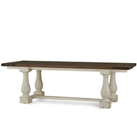 Bramble hemingway harvest white finish dining table stretcher turned legs natural wood top two-toned