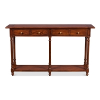 console table recycled wood brass knobs 4 drawers lower shelf six legs walnut finish