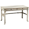 desk wood two drawers brass hardware aged white finish distressed