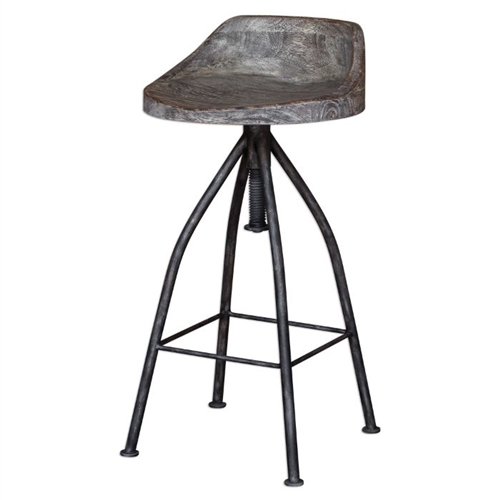 bar stool adjustable seat gray glazed driftwood finish blackened zinc iron legs