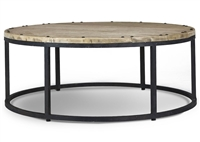wood iron coffee table transitional black mahogany round casual cocktail farmhouse rustic Bramble