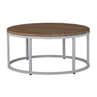 round coffee table rubber wood slat top nail heads white iron base