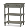 Bramble melissa grey mist side table mahogany wood rattan drawer shelves distressed