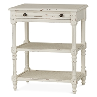 Bramble melissa white harvest side table mahogany wood rattan drawer shelves distressed