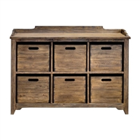 cupboard wood driftwood gray wash six bins