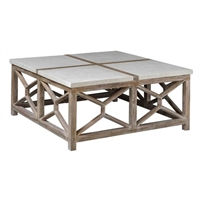 square coffee table, stone and wood coffee table, contemporary square coffee table, light wood coffee table, ivory stone coffee table