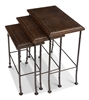 3 nesting tables iron legs brown croc leather tops nail heads