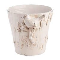 white distressed pot bird textured