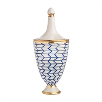 blue white zig zag urn lid gold bands