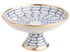 centerpiece bowl pedestal blue white zig zag gold rim