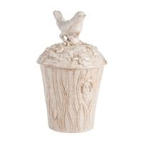 white brown ceramic pot lid bird texture