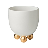 matte cachepot white footed gold ceramic